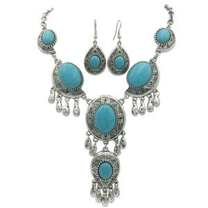Dramatic Drop Turquoise Stone Necklace Earrings